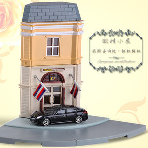 High Simulation 1:64 RMZ city Diorama Education Model Building Kits Toy DIY European house Diecast Metal Cars for children gifts