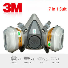 Load image into Gallery viewer, 3M 6200 Respirator Mask With Filters. 7 piece set.