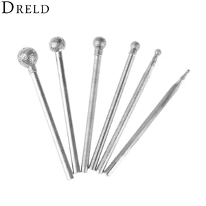 6Pcs 2.35mm Shank Diamond Spherical Polishing Grinding Bits