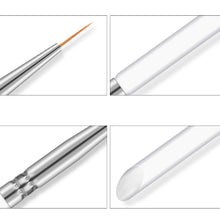 Load image into Gallery viewer, 3Pcs/set Kolinsky Nail Art Brush Crystal Acrylic Thin Liner Drawing Pen Painting Stripes 2 side Manicure Tool