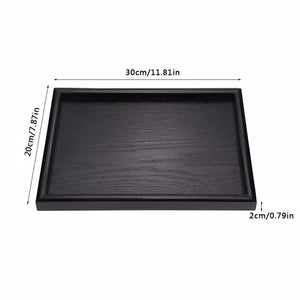 Black Tray Rectangular Wooden Diorama Base