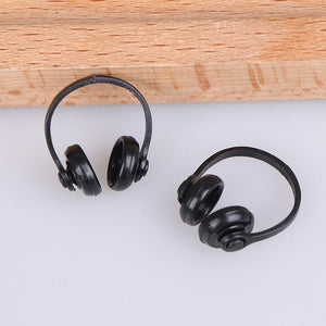 2Pcs 1/12 Dollhouse Miniatures Plastic Wireless Earphone Headphone Doll House Decor Classic Toys for Child Kids Gift