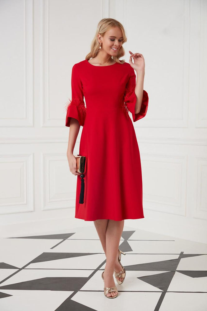 Midi Occasion Dress In Red - Vercia Fashion Group