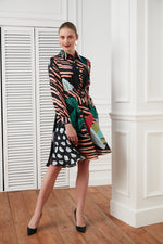 Multi colour printed belted silk dress - Vercia Fashion Group
