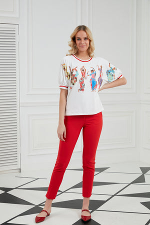 Slim Fit Summer Pants In Red - Vercia Fashion Group