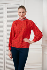 High Neck Polka Dot Blouse in Sunset Orange - Vercia Fashion Group