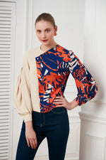 Two ways colourful print blouse