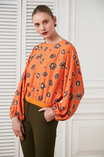 Flower print bat sleeves spring/summer top