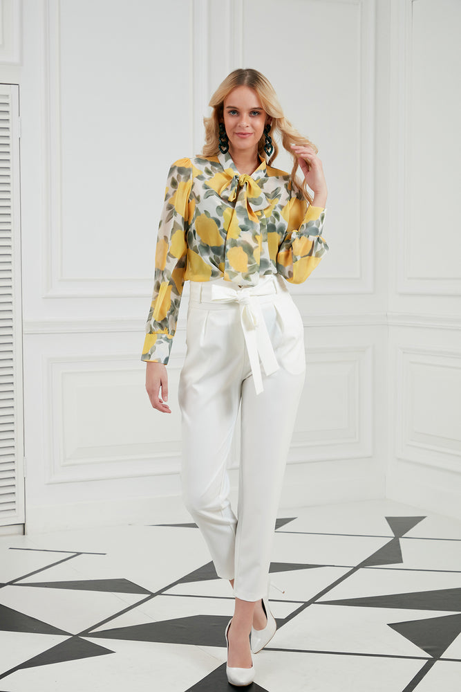 Ankle Length Trousers In White - Vercia Fashion Group
