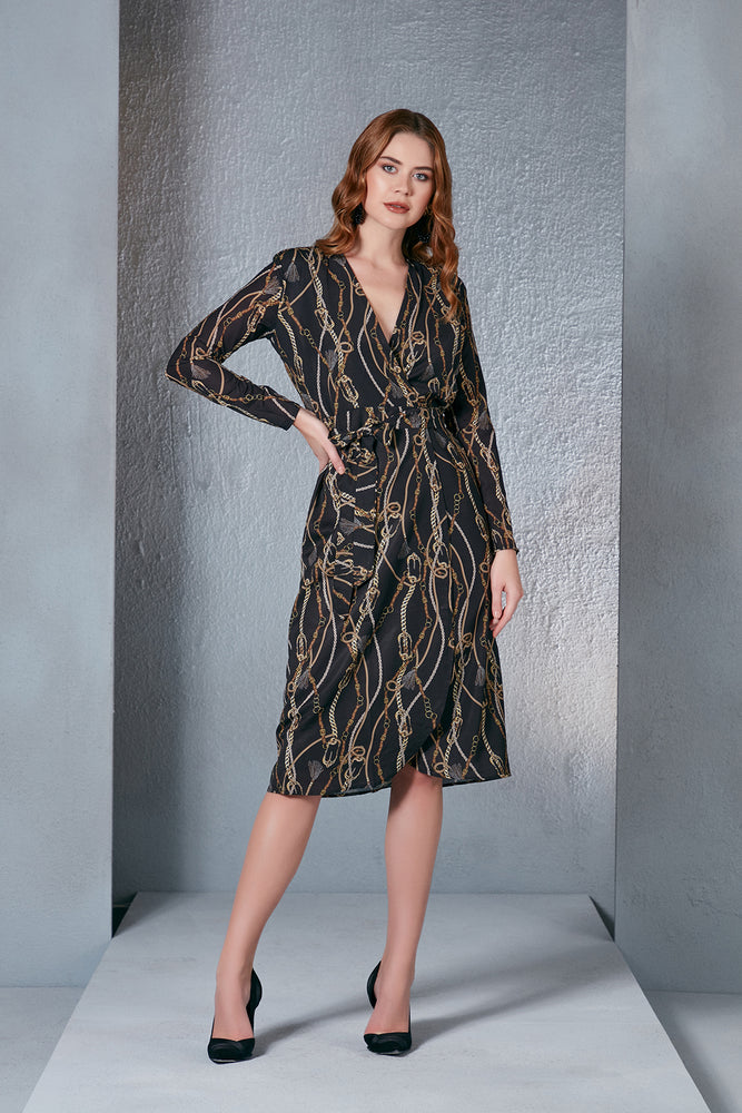 Load image into Gallery viewer, Midi Wrap Dress Silky In Gold Chain Print - Vercia Fashion Group