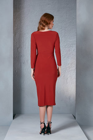 Midi Ruched Dress In Chilli Red - Vercia Fashion Group