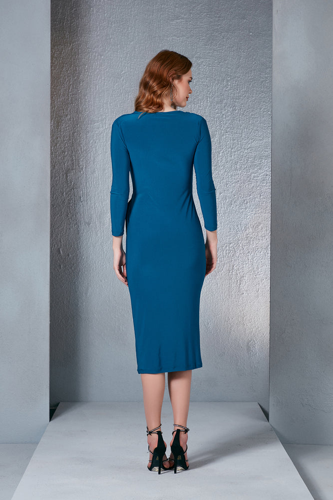 Midi Ruched Dress in Petrol Blue - Vercia Fashion Group