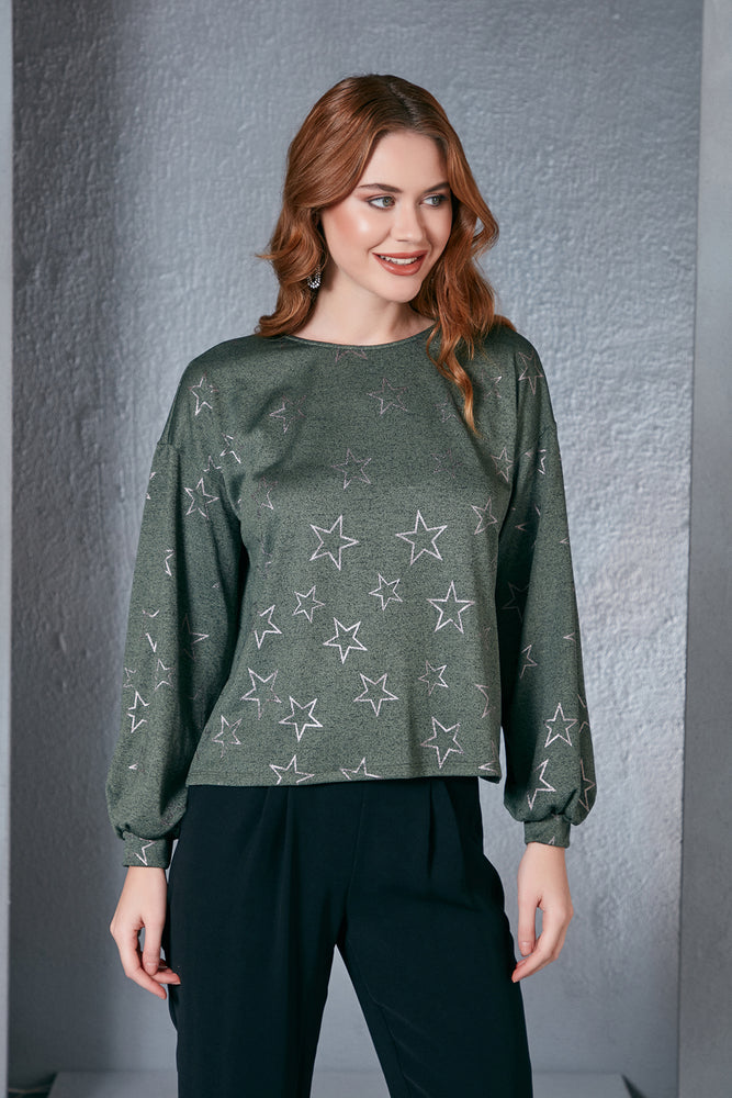 Star Sign Patterned Light Knitwear Jumper In Khaki Green - Vercia Fashion Group