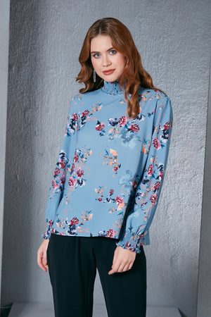 High Neck Floral Print Blouse In Blue - Vercia Fashion Group