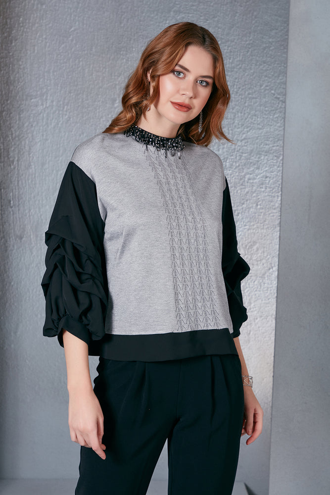 Grey/Black Frilled Sleeves Necklace Detailed Top - Vercia Fashion Group