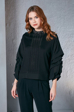 Frilled Sleeves Black Spring Smart Knitwear - Vercia Fashion Group