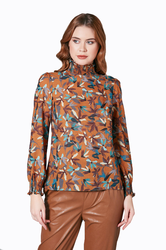 High Neck Top In Camel Print - Vercia Fashion Group