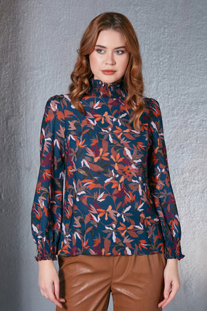 High Neck Floral Print Blouse Indigo Blue - Vercia Fashion Group