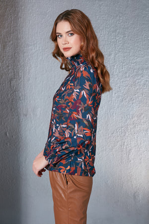 Load image into Gallery viewer, High Neck Floral Print Blouse Indigo Blue - Vercia Fashion Group