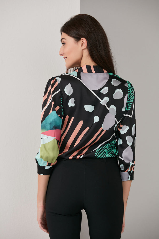 Load image into Gallery viewer, Shawl Detailed Exotic Multicolour Print Blouse - Vercia Fashion Group