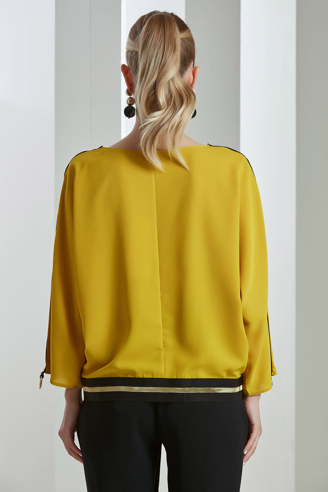 Saffron Yellow Sleeves Spring/Summer Chic Top