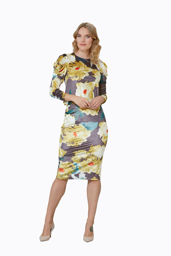 Load image into Gallery viewer, Velvet Floral Print Top And Skirt Set - Vercia Fashion Group