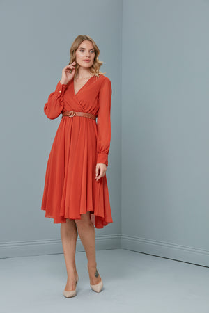 Midi Belted Dress In Chilli Red - Vercia Fashion Group
