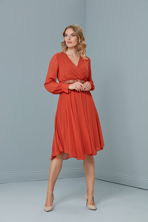 Load image into Gallery viewer, Midi Belted Dress In Chilli Red - Vercia Fashion Group