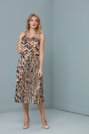 Spring Zigzag Saffron Top And Pleated Skirt Set - Vercia Fashion Group