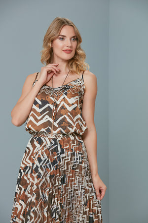 Load image into Gallery viewer, Spring Zigzag Saffron Top And Pleated Skirt Set - Vercia Fashion Group