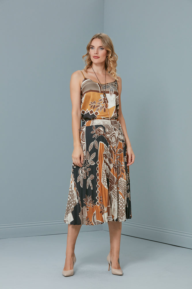 Floral Printed Camisole Top And Pleated Skirt Set - Vercia Fashion Group