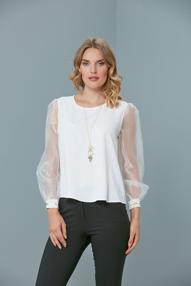 Organza Sleeves Party Top In White - Vercia Fashion Group