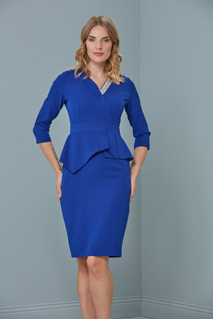 Peplum Occasion Dress In Royal Blue - Vercia Fashion Group