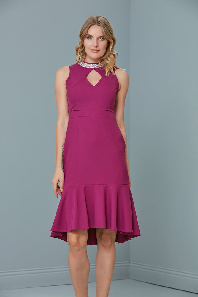 Load image into Gallery viewer, Midi Occasion Dress In Magenta Purple - Vercia Fashion Group