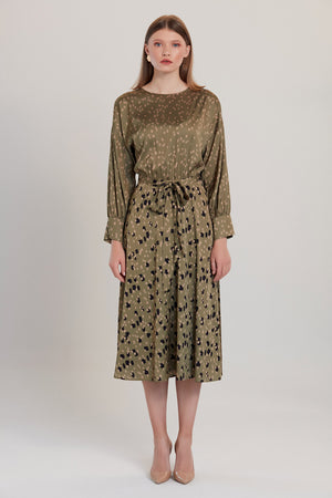 Load image into Gallery viewer, Khaki Dalmatian Print Long Sleeve Midi Dress - Vercia Fashion Group