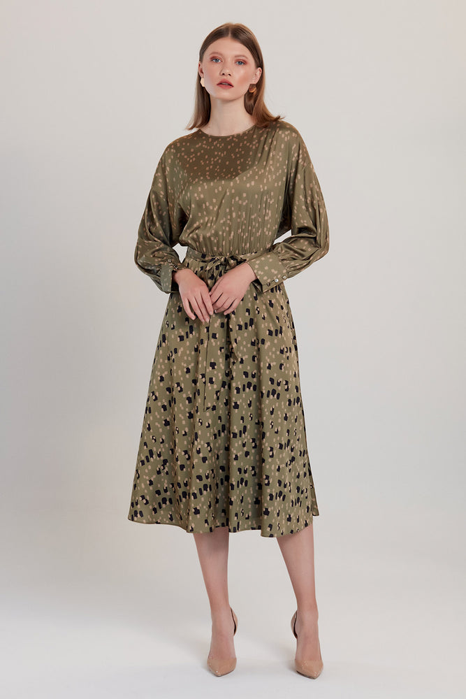 Khaki Dalmatian Print Long Sleeve Midi Dress - Vercia Fashion Group