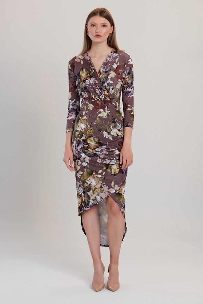 Grey Floral Print Midi Dress - Vercia Fashion Group