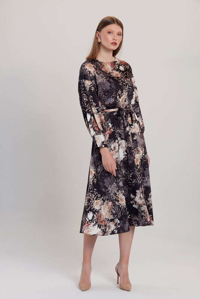 Black Rose Renaissance Print Midi Dress - Vercia Fashion Group