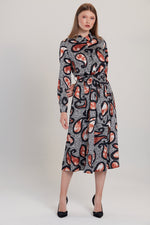 Zebra Print Paisley Belted Midi Shirt Dress - Vercia Fashion Group