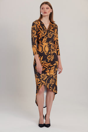 Saffron And Black Floral Print Midi Dress - Vercia Fashion Group