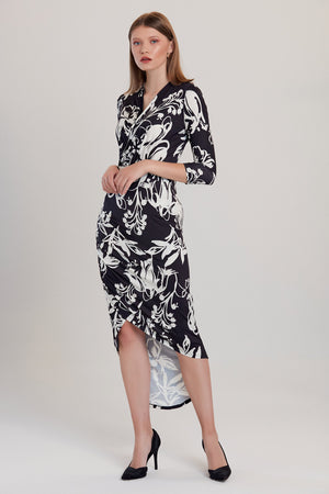 Load image into Gallery viewer, Black & White Floral Print Midi Dress