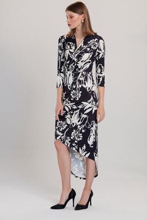 Load image into Gallery viewer, Alba Black & White Floral Print Midi Wrap Dress - Vercia Fashion Group