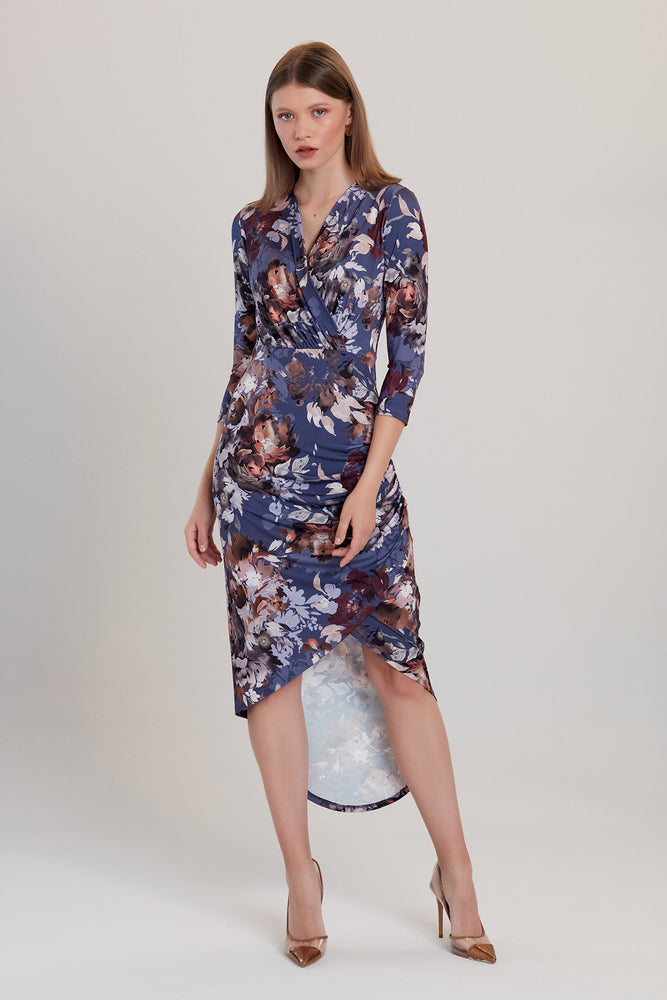 Floral Print Midi Dress in Blue - Vercia Fashion Group