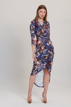 Load image into Gallery viewer, Alba Floral Print Midi Dress in Blue - Vercia Fashion Group