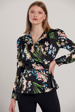 Floral Print V neck Crossover Top in Black - Vercia Fashion Group