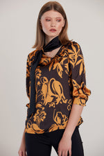 Scarf-detail Blouse in Saffron & Black Floral Print - Vercia Fashion Group