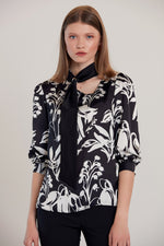 Black & White Scarf-detail V-Neck Blouse - Vercia Fashion Group