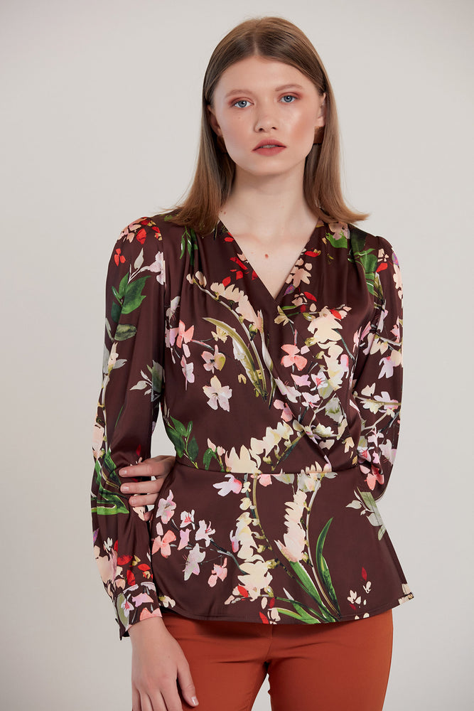 Mocha Brown Floral Print V neck Crossover Top - Vercia Fashion Group