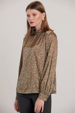 Frilled High Neck Silky Blouse in Khaki - Vercia Fashion Group