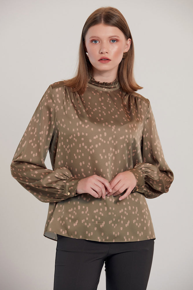 Dalmatian Print Silk Blouse in Khaki - Vercia Fashion Group